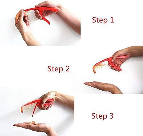Qiopes Outils Pratiques de Pelage de crevettes Crevette Peleuse Gadgets de Cuisine Cuisson des Fruits de mer Rouge