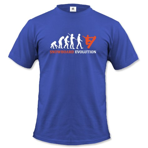 SNOWBOARD EVOLUTION - HERREN - T-SHIRT in Royalblau by Jayess Gr. M