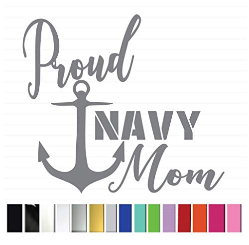 Proud Navy Mom Vinyl Graphic Decal Sticker for Vehicle Car Truck SUV Window Wall Laptop Cooler Outdoor Rated Vinyl - Plus 1 Free Decal (see listing image for more information)