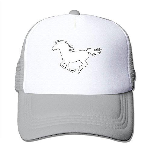 SFT Adult Unisex White Horse Trucker Baseball Mesh Cap Adjustable Hat