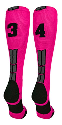 9188cb72b8b MadSportsStuff Neon Pink/Black Player Id Over the Calf Number Socks (#34,