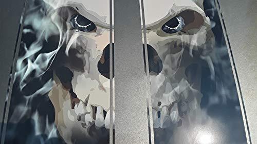 (East Coast Vinyl Werkz Hood Decals - Racing Stripes - Skull in Black fire with Pinstripe 2 pc Set - for Ford Chevy gmc Pontiac Camaro Mustang car Truck 4x4 Jeep Wrangler (Split Skull 2 pc Set))