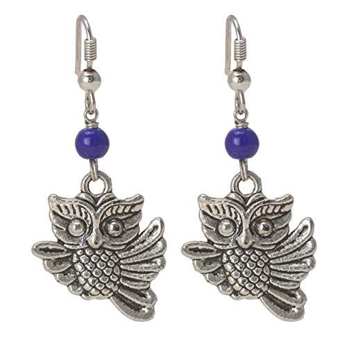 Taashya Owl Motif on Metal Earring with Blue Bead