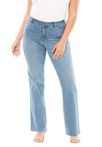 Jeans Petite Five Button (Women's Plus Size 5-Pocket Bootcut Jeans with Invisible Stretch Light)