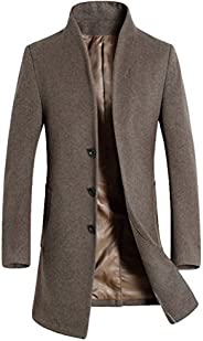 Mordenmiss Men's Long Sleeve Trench Coat with Side Poc