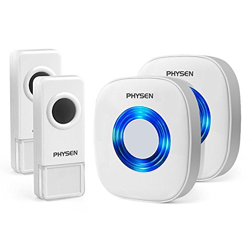 Physen Model CW Waterproof Wireless Doorbell kit with 2 Push Buttons and 2 Plugin Receivers,1000ft Range with 52 Melodies Doorbell Chimes,No Battery Required for Receiver