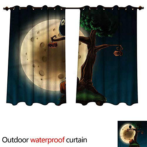 cobeDecor Halloween Outdoor Ultraviolet Protective Curtains Spooky Tree with an Owl W55 x L72(140cm x 183cm)