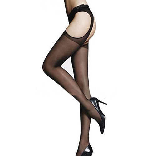 9fc915079 Qisc Womens Fishnet Tights Lace Suspender Pantyhose Stretchy Hollow Out  Stockings Black (Black)