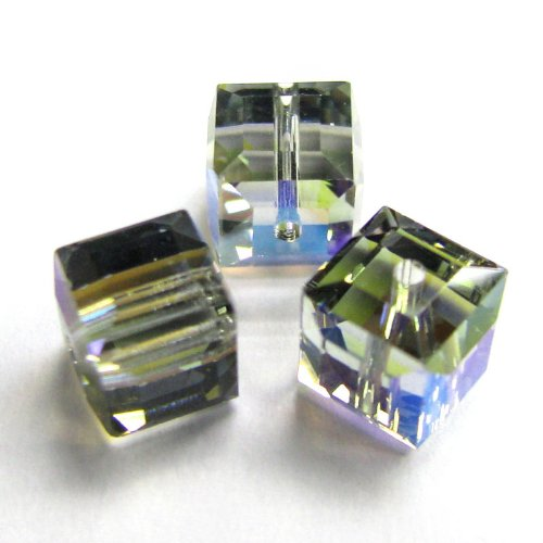 4 pcs Swarovski Crystal 5601 Cube Bead Spacer Black Diamond AB 6mm / Findings / Crystallized (Coating 5601 Cube)