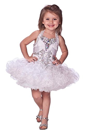 SanLing little Girls' Halter Crystal Sash Pageant Dress Child-3 White by Sanling