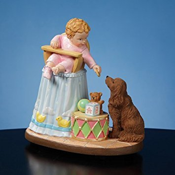 The San Francisco Music Box Company Baby Sharing with Dog Musical Figurine