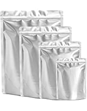 100 Pieces 4 Sizes Mylar Bags Variety Pack, 8 Mil Mylar Bags for Food Storage, Stand Up Heat Seal Mylar Bags for Food, Smell Proof Ziplock Reseable Mylar Bag (5 x 7 Inch, 6 x 9 Inch, 1 Quart/1 Gallon Mylar Bags)