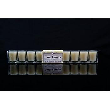 Vivre Royale TM #42-345-I Set of 10 Shot Glass Votives, with Real Quality Wax, Scented, Vanilla - V-Shape, Ivory