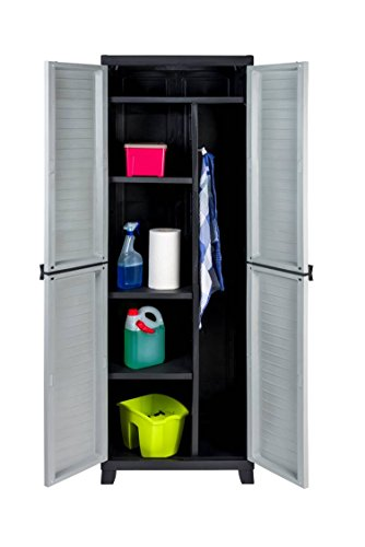 Kunststoff Spindschrank, Besenschrank mit Freifach für sperrige Gegenstände und abschließbaren Türen. Maße BxTxH in cm: 65 x 45 x 181 cm.