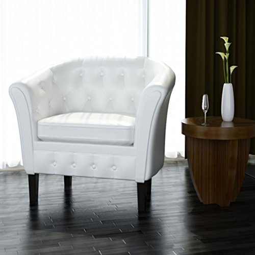 White Artificial Leather Tub / Barrel Design Club Chair w/ Tufted Button Accents