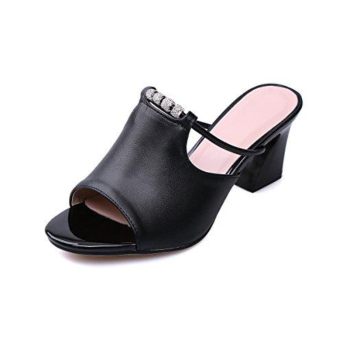 Grande Occasionnels Épais Taille Black Poisson Sandales Bouche Avec Chaussures Femmes xZTw4q6w