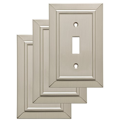 Franklin Brass W35217V-SN-C Classic Architecture Single Toggle Wall Switch Plate/Cover, 3 pack, Satin Nickel