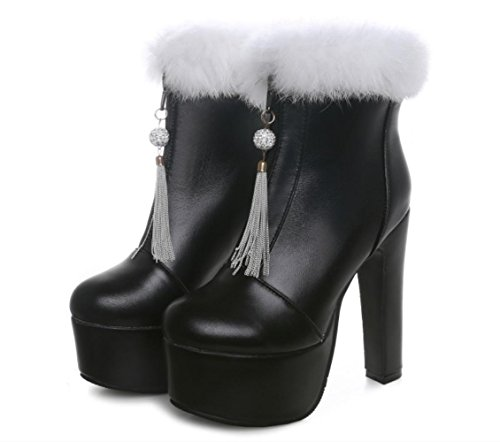 Best Für Damen Stiefel Weiß Booties Schuhe Beige Blockabsatz Winter Modische Normal Schwarz Zehe Stiefel Stiefeletten Kunstleder Kleid 4U® Runde RFrBqR
