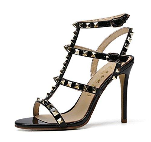 Puntiaguda Black Estilete Talones Fiesta Paseo Sandalias Alto Punta Zapatillas Sexy Mujer Corte Señoras Zapatos Noche Nvxie gq1wp4YZw