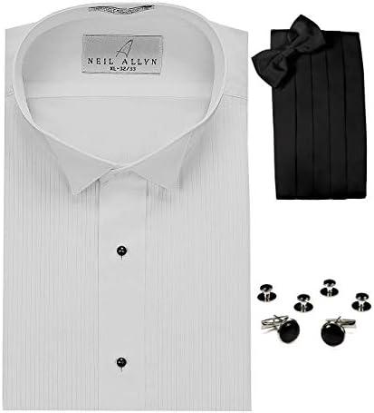 Ala Cuello Esmoquin Camisa, fajín, pajarita, gemelos & studs Set