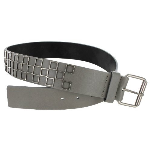 Mens 2 Inch Wide Belt Checkered Print with Metal Accents and Silver Buckle (Small 29''-31'', Gray) by Online Stores, Inc. (Image #1)