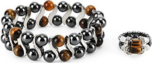 Elegant Womens Hematite Magnetic Therapy & Healing Stone Bracelet & Ring Set Pain Relief for Arthritis and Carpal Tunnel (Tiger Eye) Magnetic Rings Bracelets