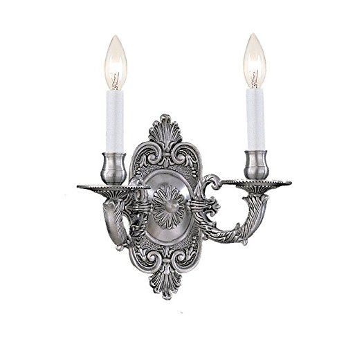 Crystorama 642-PW Traditional Two Light Wall Sconce from Arlington collection in Pwt, Nckl, B/S, Slvr.finish, 5.00 (Pewter Heart Lock)