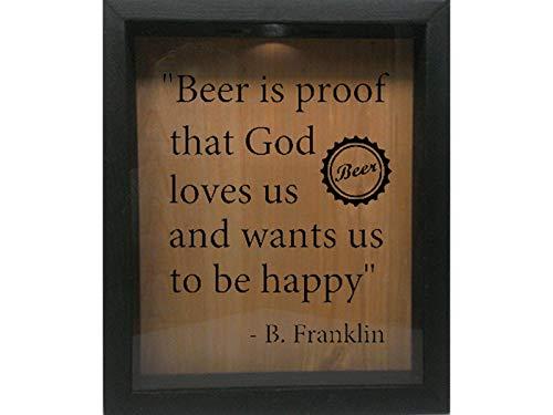 Wicked Good Decor Wooden Shadow Box Wine Cork/Bottle Cap/Tickets 9x11 - Beer is Proof That God (Ebony w/Black) ()
