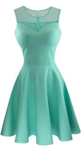 Sylvestidoso Women's A-Line Sleeveless Pleated Little Light Green