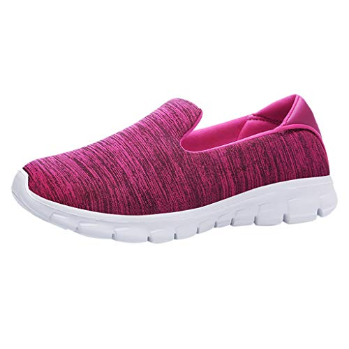 - Dressin Womens Fashion Casual Solid Sport Breathable Lightweight Slip On Shoes Sneakers Hot Pink
