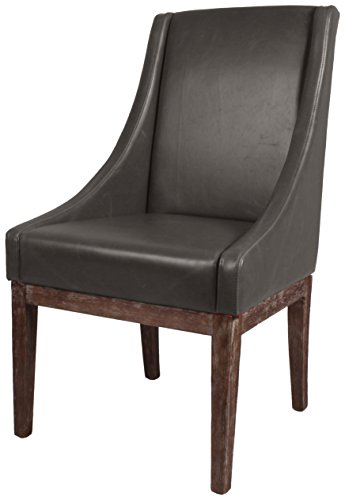 New Pacific Direct Houston Bonded Leather Chair,Distressed Brown Legs,Vintage Gray,Fully Assembled (Contemporary Distressed Leather Brown)
