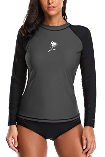 Vegatos Long Sleeve Rashguard Women Colorblock UPF 50+ Swim Shirt Swimwear Top M Grey/Black