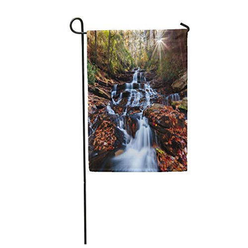 Tarolo Decoration Flag Trail Waterfall Sunset in The Fall Colors North Georgia USA Hiking Appalachian Thick Fabric Double Sided Home Garden Flag 12