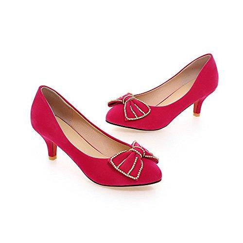 Allhqfashion Womens Pull-on Frosted Closed-teen Kitten-hakken Stevige Pumps-schoenen Rosered
