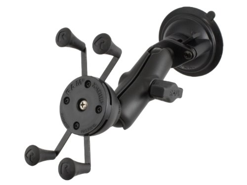 Ram Mount Composite Twist Lock Suction Cup Mount with Universal X-Grip Cellphone Holder - Non-Retail Packaging - Black - Mount Twist Lock