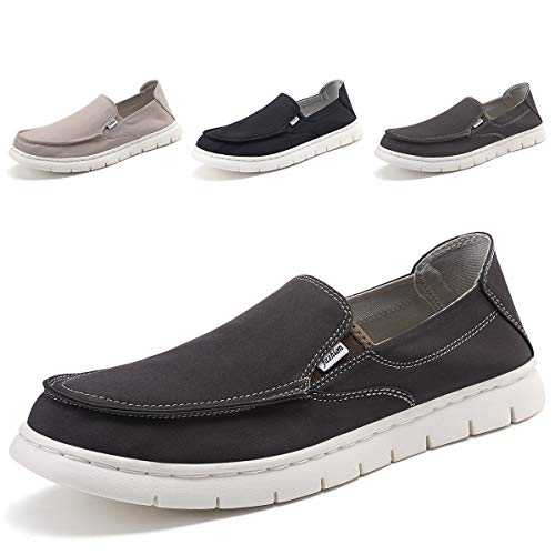 (SONLLEIVOO Mens Deck Shoes Slip on Casual Summer Shoe Loafers Wide Width Grey)