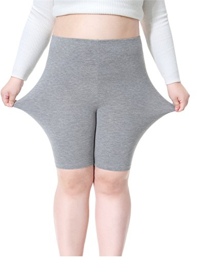 (womens Plus Size Modal Cotton Short Leggings Lightweight Breathable Mid Thigh Stretchy Shorts, 3X Plus, Grey)