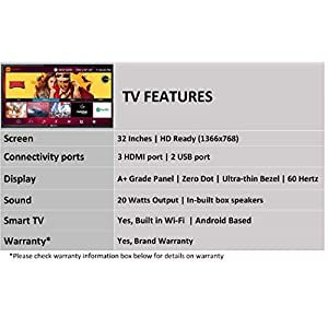 Kodak 80 cm (32 inches) HD Ready LED Smart TV 32HDXSMART Pro (Black) (2019 Model)