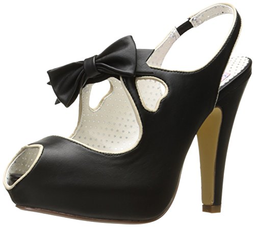 Pin Up Couture BETTIE-03 Damen Peeptoe Slingpumps Blk Faux Leather