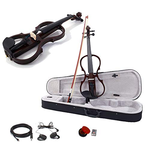 GHP Brown Maple & Arbor 4/4 Electric Silent Violin w Bow Case Rosin Headphone & Battery by Globe House Products