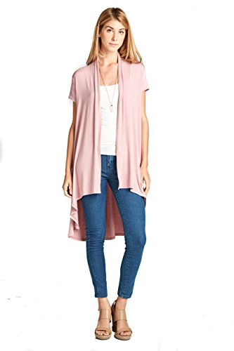 (ReneeC. Women's Extra Soft Natural Bamboo Short Sleeve Cardigan - Made in USA (Large,)