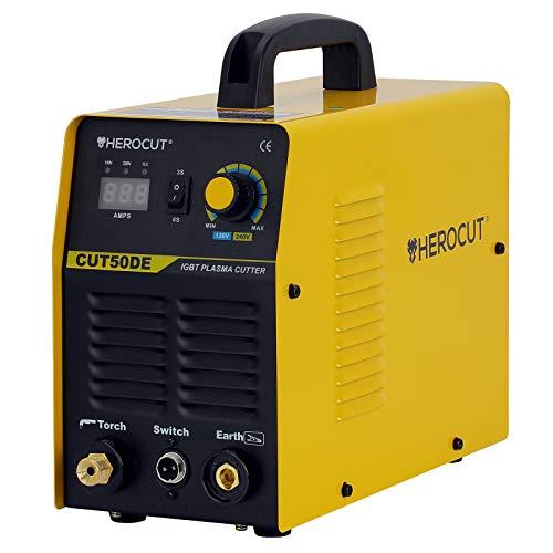 Plasma Cutter, 110/220v Dual Voltage CUT50DE IGBT Inverter Air Plasma Cutter 8mm Clean Cut In 65PSI 12mm Servance Cut (CUT50DE)