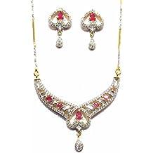 Shingar Jewelry Ksvk Jewels Cubic Zirconia (CZ) Tanmania Pendant Set For Women (9930-psad-ruby)