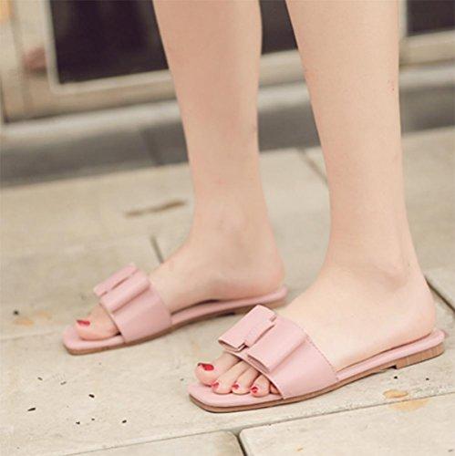 Flat Zapatos Rosa Verano Con Zapatillas Soporte De Flores axwqI6X46C