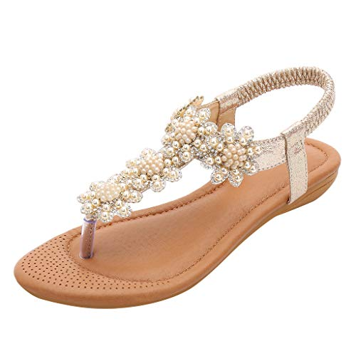 Shusuen Women Bohemian Flats Sandals Summer Beach Ankle Strap Slingback Flip Flop Shoes Gold