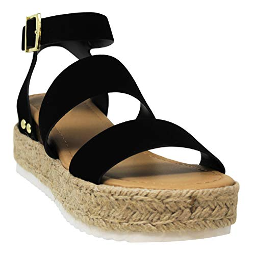 MVE Shoes Womens Stylish Comfortable Platform Strappy Espadrille Flatforms, Black Nbpu 8.5