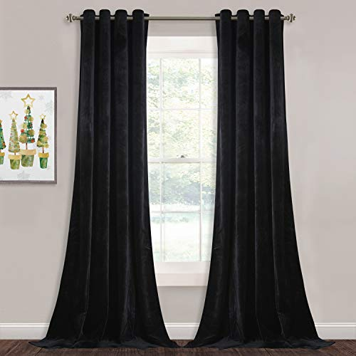 (StangH Blackout Velvet Curtain Panels - 96-inch Long Velvet Drapes Heat Insulated Soundproof Window Covering Shade Blinds for Living Room/Wall Backdrops, Black, W52 x L96-inch, Double Panels)
