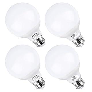 G25 LED Vanity Light Bulb 5W, Kakanuo 60W Globe Bulb Equivalent, Round Bathroom Makeup Light Bulb, Daylight White 5000K, Pack of 4