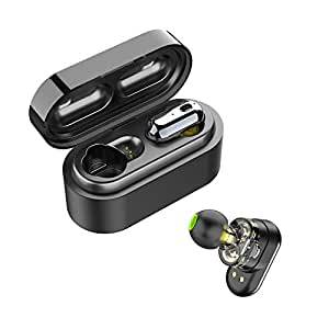 SoundPEATS Wireless Earbuds, Bluetooth 5.0 Wireless Headphones Dual Dynamic Drivers TWS Bluetooth Earphones Built in Mic IPX6 Sweatproof Headphones True Wireless Earbuds with Portable Charging Case (Black)