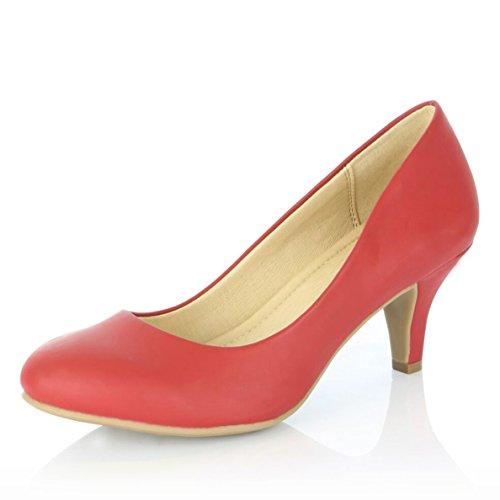 Dailyshoes Donna Confortevole Elegante Alta Ammortizzata Casual Tacchi Bassi Formale Ufficio Signora Punta Tonda Pompe A Spillo Scarpe Rosso Pu